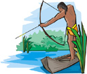 [Image: clip art of an American Indian hunting with a bow and arrow.]